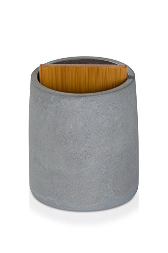 möve Cement Zahnbürstenhalter 8 x 10,5 cm aus Zement mit Bambusholz, grey