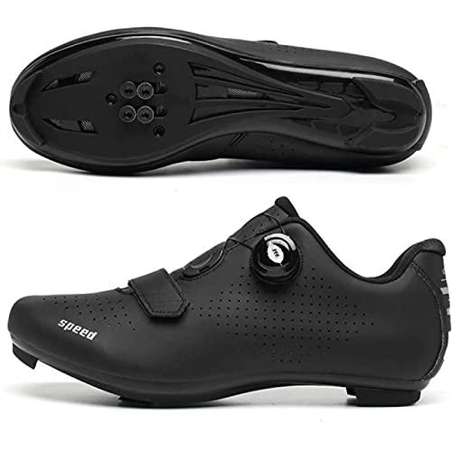 WYUKN Zapatillas de Ciclismo Hombre Dial Bicicleta de Carretera SPD/SPD-SL Ciclismo Interior Compatible con Ejercicio Doble Trinquete MTB Cleat Ciclismo - Transpirable Cómodo,Black-8UK=(260mm)=42EU