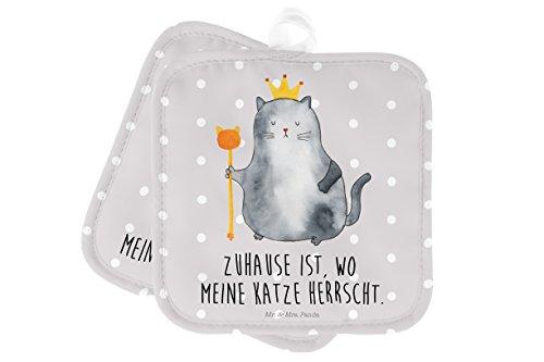Mr. & Mrs. Panda Handschuhe, Topflappen Set, 2er Set Topflappen Katzen Koenig mit Spruch - Farbe Grau Pastell