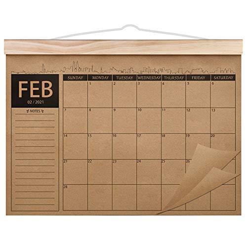 Norjews Kalender 2021-2022, 18-monatiger Familienplaner Kalender, Dickes Kraftpapier Wandkalender, Schreibtischunterlage Kalender Feb. 2021 – Jul. 2022 (42 x 31cm)