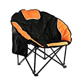 Portable Outdoor Moon Chair with Cup Holder and Carry Bag, Round Saucer Folding Padded Chair