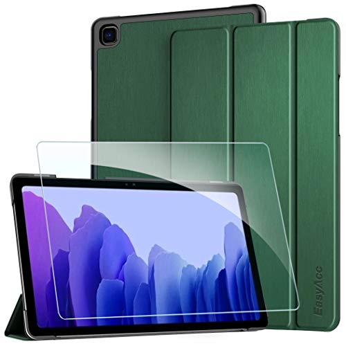 EasyAcc Hülle Kompatibel mit Samsung Galaxy Tab A7 10.4 2020 mit Panzerglas -Ultra Dünn mit Standfunktion Slim PU Leder Smart Schutzhülle Kompatibel Galaxy Tab A7 10.4 2020 SM-T500/SM-T505 dunkelgrün
