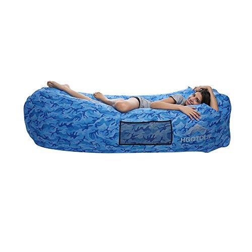 Luftsofa Outdoor,Tragbare aufblasbare Sofa Stuhl, Air Lounger Sofa Schlafsack, ideal für Lounging, Camping, Strand, Angeln, Kinder, Parteien.(blau camouflage)