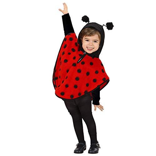 Widmann 60269 60269-Kinderkostüm Marienkäfer aus Plüsch, Poncho mit Kapuze, Tier, Karneval Mottoparty, Mädchen, Rot/Schwarz, 98 cm