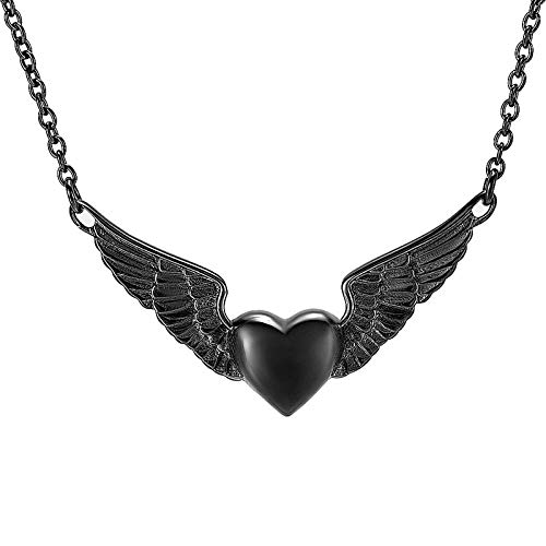 DQCY Angel Wing Hold Heart Cremation Urn Collar para Mujer Recuerdo Memorial Locket Colgante Hold Ashes of Loved Ones-D