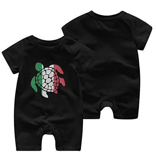 Mark Stars Italian Flag Sea Turtle Girl Boy's Kids Baby Romper Short Sleeve Bodysuit Jumpsuit(12M,Black)