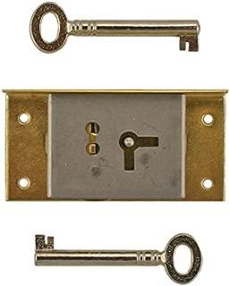 Left Hand Cabinet Door or Drawer Brass Half Mortise Lock w/Two Skeleton Keys | S-20L