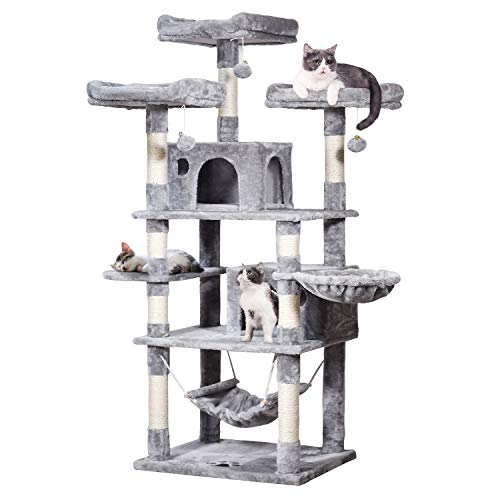 """MQ Multi-Level Cat Tree, Activity Center Cat Tower Furniture 67"""" with Sisal-Covered Scratching Posts 3Pcs Padded Plush Perches Dual Condo & Basket Removable Hammock for Adult Large Small Cats (Gray)"""