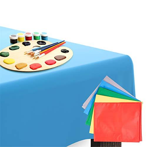 5 Mantel de Plástico, Cubiertas de Mesa, 150x150cm| Durables e Impermeables - Desechables o Reutilizables - Perfecto para Juegos de Pintura, Manualidades en Fiestas Infantiles, Cumpleaños.