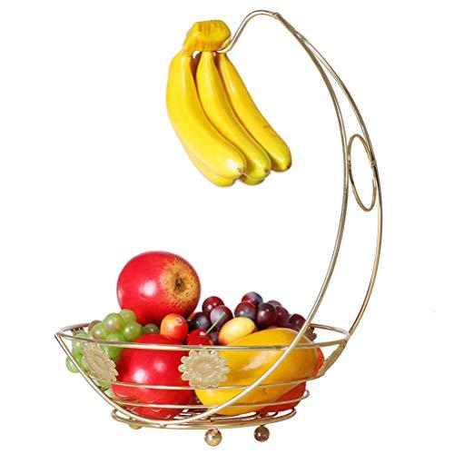 QTQHOME Iron Art Fruit Basket Bowl Storage Bowl,Fruit Holder Fruit basketwith Stand and Banana Hanger Hook Chrome (Color:Silver)