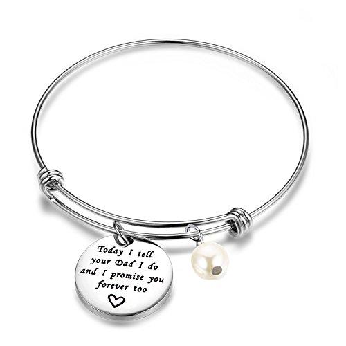 ENSIANTH Stepdaughter Bracelet Today I Tell Your Dad I Do and I Promise You Forever Too Bracelet Wedding Gift Blended (Tell Dad Bracelet)