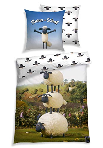 Shaun das Schaf Bettwäsche 2 teilig, Sheep Stack, Renforcé, 100% Baumwolle, Größe:135 cm x 200 cm