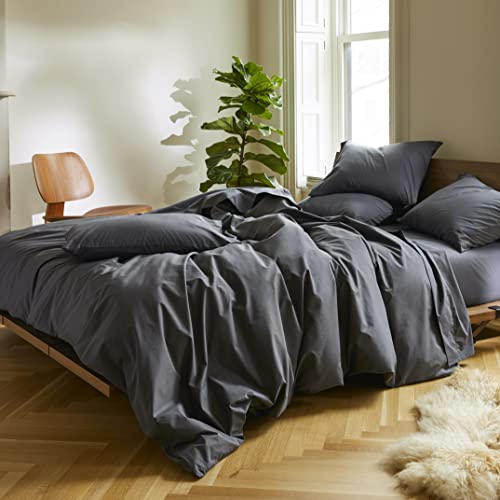 Brooklinen Luxe Core Sheet Set for Twin Size Bed, Graphite - 4 Piece Set (1 Fitted Sheet, 1 Flat Sheet + 2 Pillowcases)
