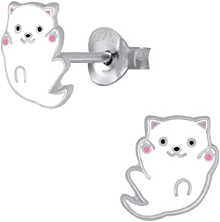 Laimons, orecchini da bambina a forma di gatto bianco e rosa, 8 mm, in argento Sterling 925