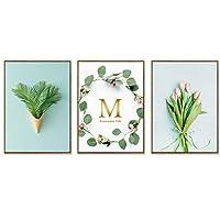 建築アクセサリー装飾絵画セット緑の植物三連祭壇画装飾絵画キャンバス絵画シンプルな小さな新鮮なリビングルーム家の装飾装飾絵画アートワーク(色:Cサイズ:M)