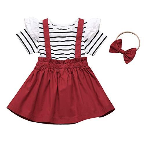 Traje de 3 piezas para niña con volantes a rayas + falda de tirantes + diadema, rosso, 120 cm