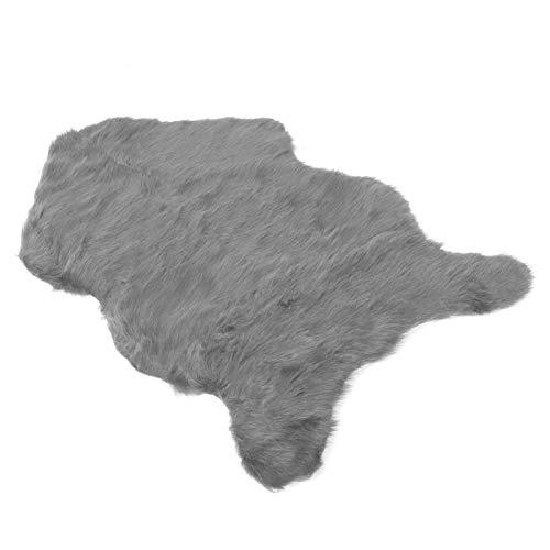 Matta, platt matta falskt fårskinn golvmatta anti-ludd matta för yoga för bröllopspresent (grå)