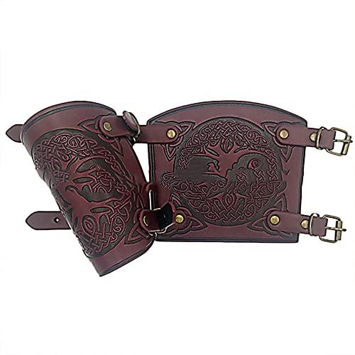 keepwo Brazales Retro Medievales Viking Cosplay guantelete Pulsera Tiro con Arco Hebilla cinturón Brazalete Protectores de Brazo de Cuero