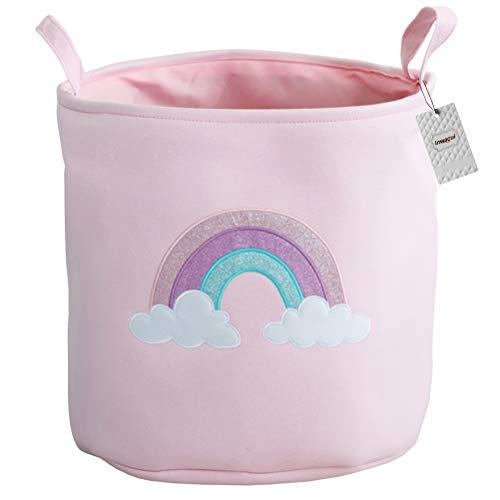 Inwagui Baumwolle Leinwand Wäschekorb Faltbare Baby Aufbewahrungskorb mit Griffen für Kinder Spielzeug Kleidung Organizer - Regenbogen, Rosa