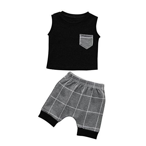 Fossen Bebe Ropa de Dos Piezas Verano Recien Nacido Niño Camisa y Cuadros Pantalones Cortos (3-6 Meses, Negro)