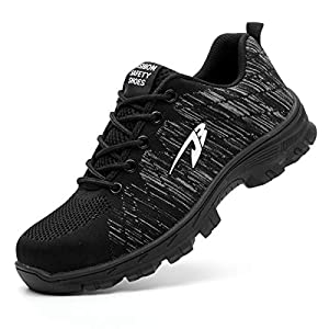 Luolocsn Work Steel Toe Shoes Camo Safety Shoe for Men and Women Lightweight Industrial & Construction Shoes