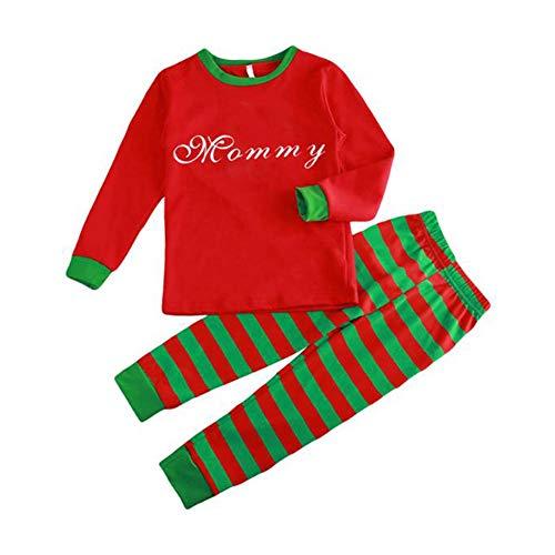 Hzjundasi Famiglia Matching Pigiama Abbigliamento - Autunno Inverno Natale Lettere Stampato Capi Di Abbigliamento Famiglia Pigiama Completo Da Uomo, Rosso/Verde