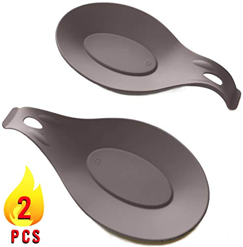 Grey Spoon Rests for Kitchen Stove – Set of 2 | Silicone Spoon Rest | Heat Resistant Nonstick Sturdy Silicon | Spoon Holder for Stove Top | Fits Large Utensils | Spatula Holder and Many Other Uses