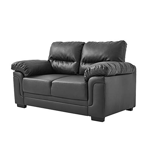 Panana 2 Seater Corner Sofa in Faux Leather Modern Sofa Settee Couch for Living Room Office Lounge (Black, 2 Seater)