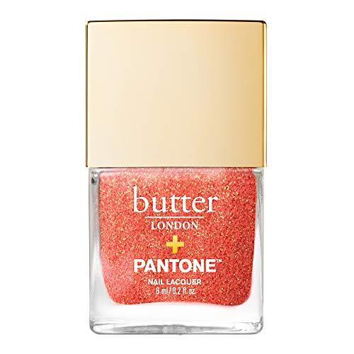 butter LONDON Pantone Living Coral Glazen Peel-Off Glitter Nail Lacquer