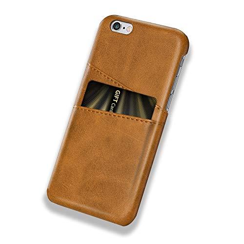 Funda iPhone 6 Plus / 6S Plus, Funda Tarjetero Slim de Piel Sintética Vintage con 2 ranuras para Tarjetas/DNI Cubierta Simple Fácil de Instalar para iPhone 6 / 6S (iPhone 6 / 6S, Amarillo)