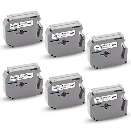 Xemax kompatibel Bänder Ersatz für Brother MK-231 M-K231 MK231 Schriftband für PT-65 PT-60 PT-100 PT-110 PT-90 PT-M95 PT-45 PT-55 PT-70BM PT-75 PT-85, Schwarz auf weiß, 12mm x 8m, 6er-Pack