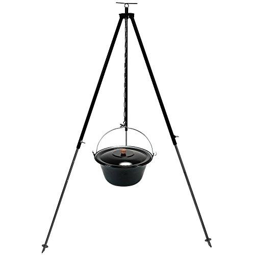 Gulaschkessel Gulaschtopf Set 10 Liter emailliert mit Deckel und Teleskop Dreibein 180 cm durch Kettenzug höhenverstellbar / Feuerkessel – Suppentopf – Outdoorkocher – Glühweintopf – Glühweinkessel