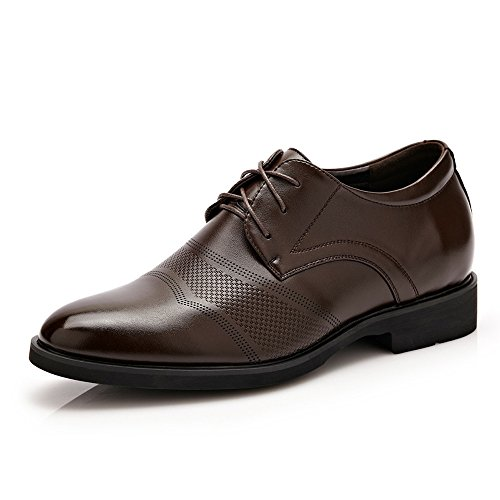 no-branded Zapatos de Cuero de los Hombres Formales clásicos Altura Creciente 6 cm Transpirable Negocio Moderno Shortwing Oxfords Calzado de conducción JZJZJEU (Color : Marrón, Size : 7 MUS)