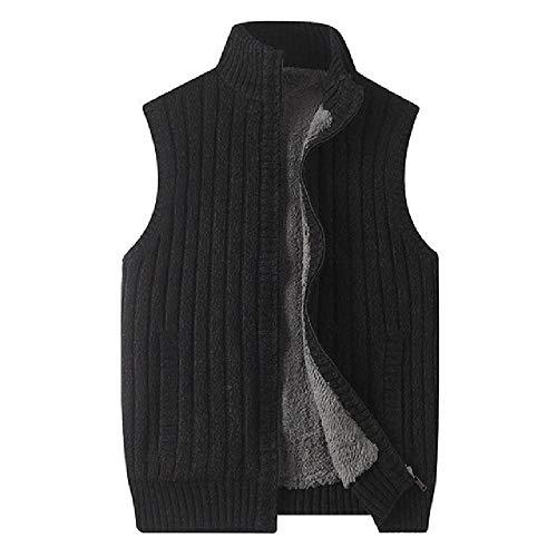 Hombre invierno grueso cordero punto chaleco busto casual suéter abrigo