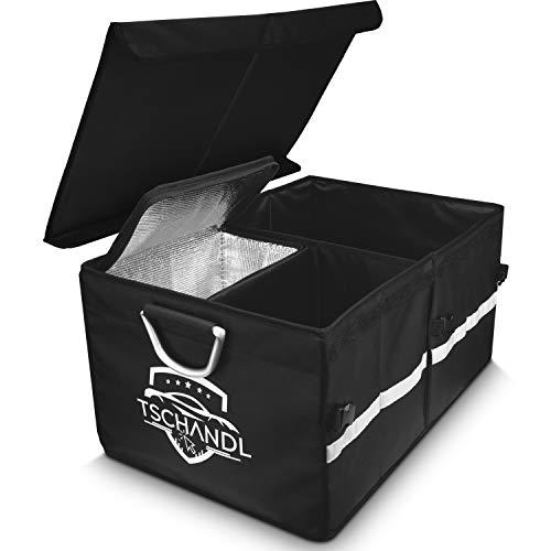 Kofferraum Organizer Autotasche | Große Kofferraumtasche mit Kühltasche Kühlbox | Faltbare Auto Tasche mit Deckel | Wasserdichte Aufbewahrungsbox zum Verstauen | Stabile Box mit antirutsch Klett