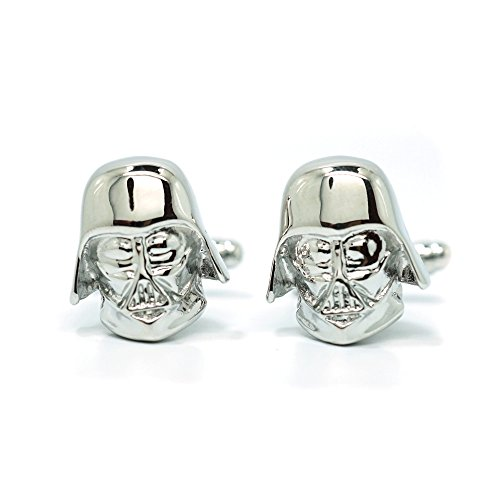Teri's Boutique Men's Jewelry Star Wars Darth Vader Head Silver Tone Cufflinks Pair w/Gift Box