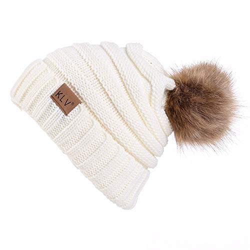 Rockia Women Knit Wool Beanie with Fur Pom Poms Unisex Winter Warm Outdoor Thick Knit Hat Caps Skull for Teen Girls Juniors (White)