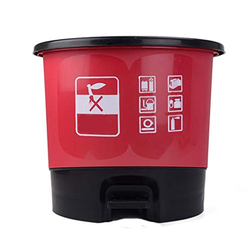 Hong Yi Fei-Shop papeleras Bote de Basura Redondo, Tocador de Cocina para el hogar con Desodorante de Tapa Bote de Basura, Pedal de plástico Tipo de clasificación de Basura (Color : Red)