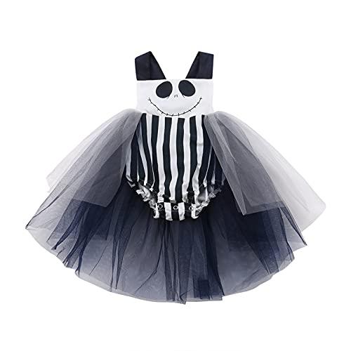 Beauace Vestido para bebé de Halloween, princesa, vestido de Halloween con sonrisa, vestido de una pieza, chaleco, vestido, vestido de una pieza, falda de ballet, vestido de tutú, Negro , 0- 6 Meses