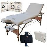 Klappbar Massageliege 3 Zonen Mobile Massageliege Höhenverstellbaren Holzfüßen mit 4cm Bettstärke Massagebank (bis 250kg belastbar)
