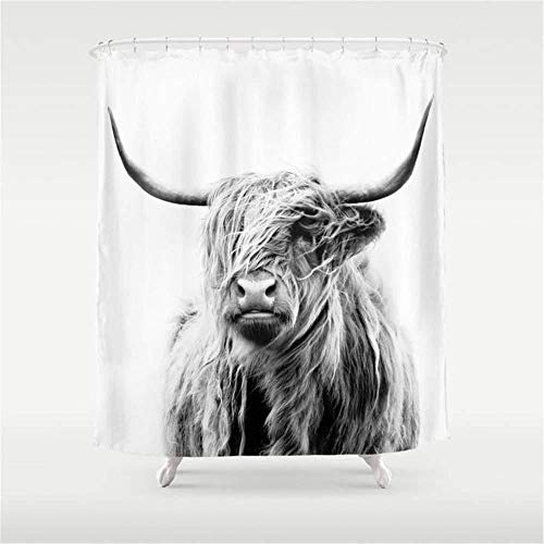 zxcyiPortrait of A Highland Cow Shower Curtain Waterproof Polyester Fabric Bathroom Decor Printed Shower Curtain 200 * 180cm