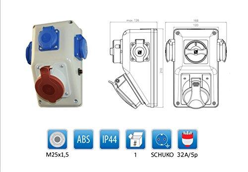 Baustromverteiler/Wandverteiler mit Thermoschalter 1 x CEE 32A + 3 x 230 V/16A verdrahtet