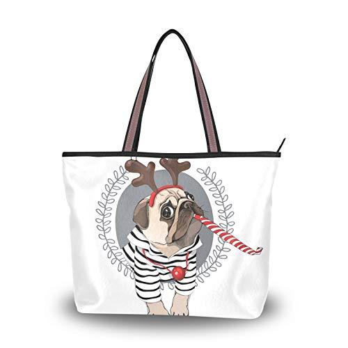 NaiiaN para mujeres, niñas, señoras, estudiante, bolso de mano, bolsos de hombro, ligero, correa, monedero, bolsos de compras, estilo navideño, perro pug, a rayas, cárdigan, cuerno, ciervo