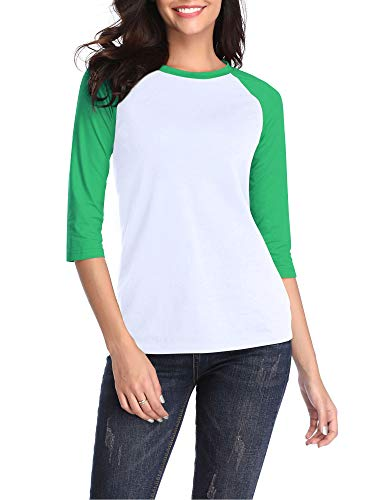 HUHOT St Patricks Day Shirt Green and White Raglan Shirt, Cotton Crew Neck 3/4 Sleeve Jersey Baseball Tee Large