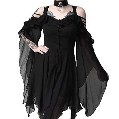 Writtian Halloween Damen Kleid Vintage Mittelalterlichen Gothic Kleid Cosplay Kleid mit Trompetenärmel Mittelalter Schulterfrei Asymmetrisch Party Karneval Fasching Kostüm Kleidung Partykleider