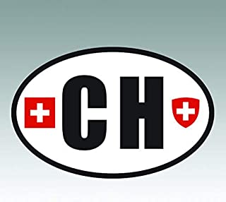 RDW Switzerland Oval Sticker - Die Cut - Decal - CH v6 Country Code Euro - Size: 4.99