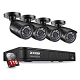 ZOSI H.265+1080p Home Security Camera System,8 Channel 5MP-Lite CCTV DVR with Hard Drive 1TB and 4 x 1080p Weatherproof...