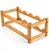 BRTBEE Wine Rack, Natural Bamboo Wine Bottle Rack Strong and Durable Wine Rack Rack for Freestanding Countertops, Kitchens, Restaurants, Pantry, Bars-8 Bottles on 2 Layers (8 Bottle-2 Layers)