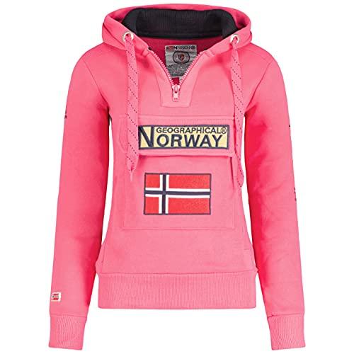 Geographical Norway GYMCLASS Lady - Sudadera Mujer Bolsillos Kangaroo - Sudadera Caliente Mujer - Suéter Abrigos Manga Larga - Hoodie Tops Casual Abrigo Estilo Pink Flash XXL - Talla 5