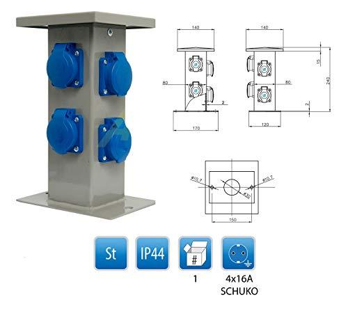 Baustromverteiler Steckdosensäule 4 x 230V Schuko Außensteckdose Gartensteckdose IP44